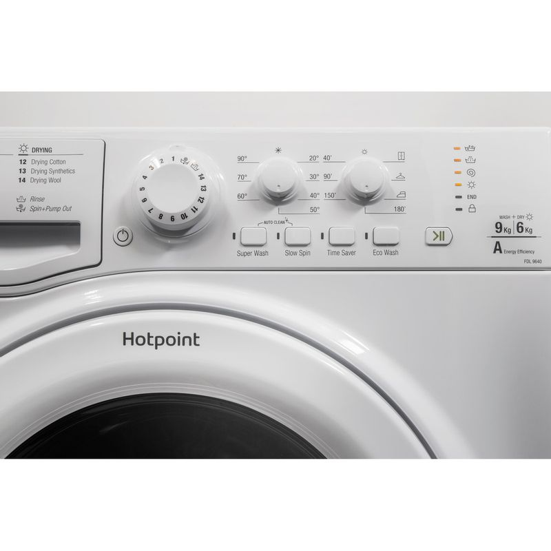 Hotpoint-Washer-dryer-Free-standing-FDEU-9640-P-UK-White-Front-loader-Control-panel