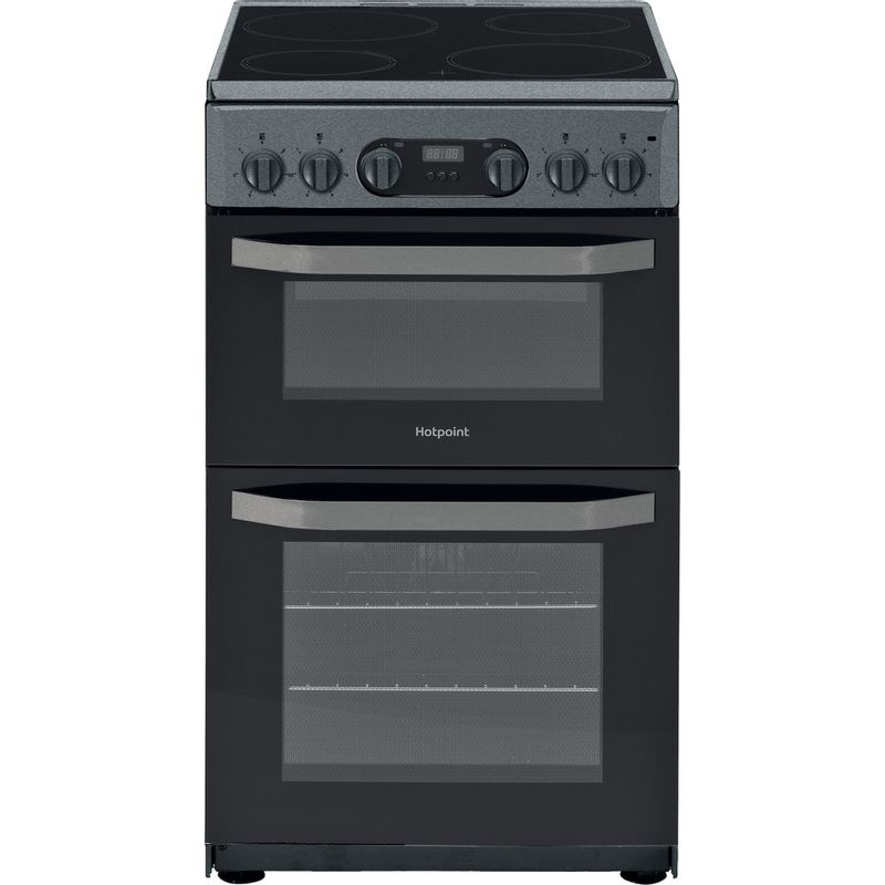 Hotpoint-Double-Cooker-HD5V93CCSS-UK-Silver-A-Vitroceramic-Frontal
