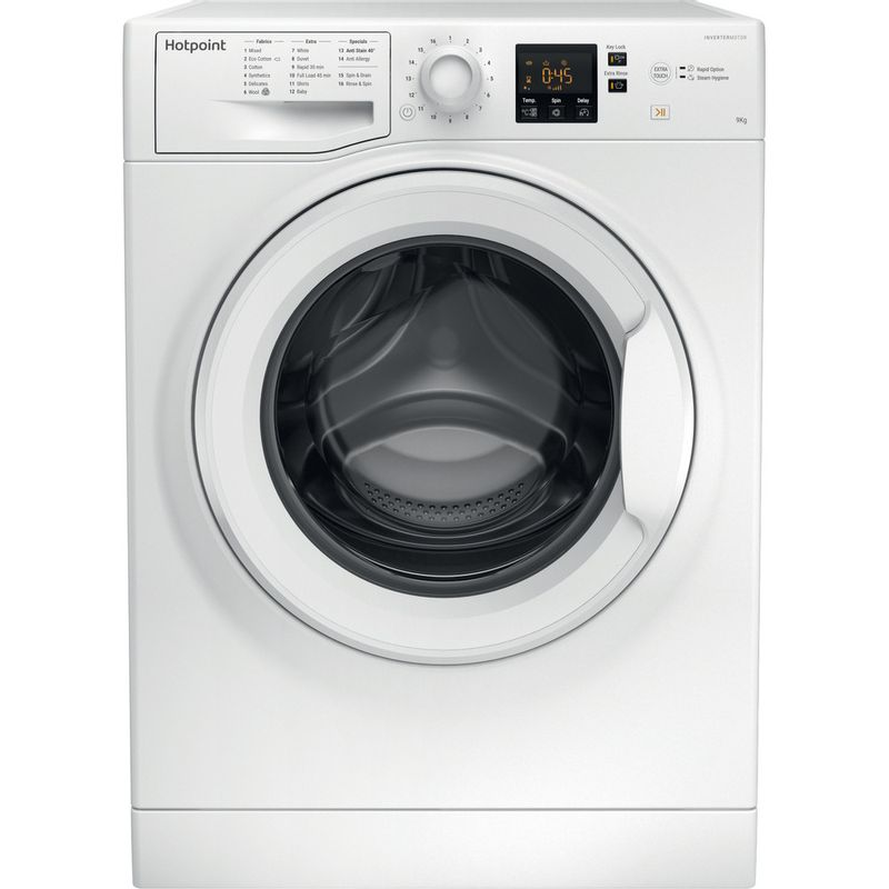 Hotpoint-Washing-machine-Free-standing-NSWR-943C-WK-UK-White-Front-loader-A----Frontal