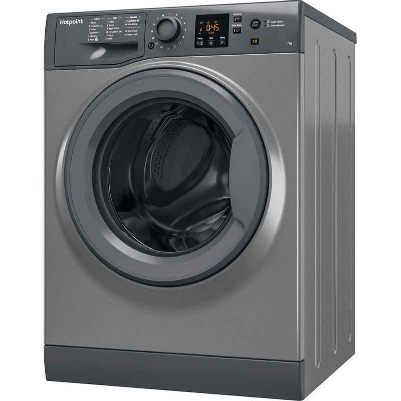 Hotpoint-Washing-machine-Free-standing-NSWR-743U-GK-UK-Graphite-Front-loader-A----Perspective