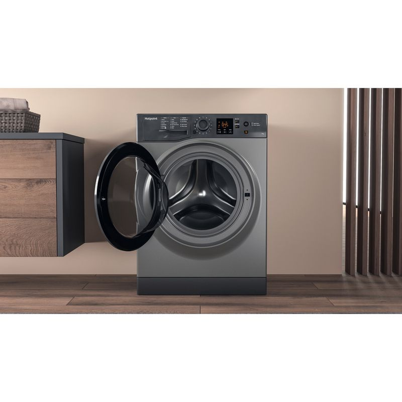 Hotpoint-Washing-machine-Free-standing-NSWR-743U-GK-UK-Graphite-Front-loader-A----Lifestyle-frontal-open