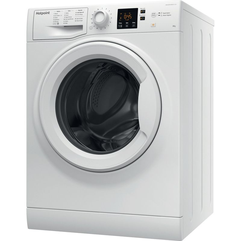Hotpoint-Washing-machine-Free-standing-NSWM-863C-W-UK-White-Front-loader-A----Perspective
