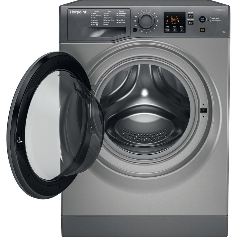Hotpoint-Washing-machine-Free-standing-NSWR-943C-GK-UK-Graphite-Front-loader-A----Frontal_Open