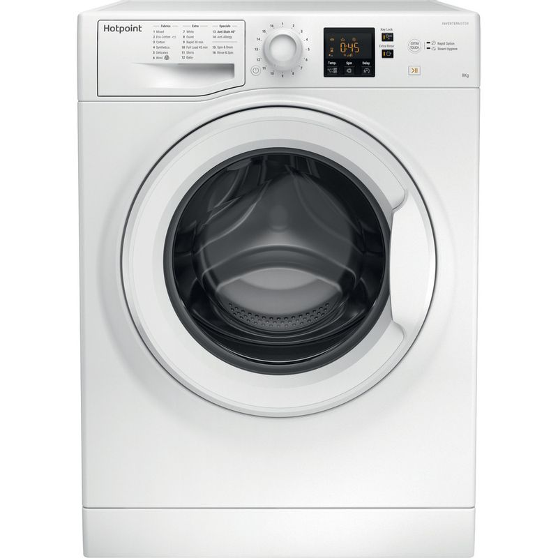 Hotpoint-Washing-machine-Free-standing-NSWR-843C-WK-UK-White-Front-loader-A----Frontal