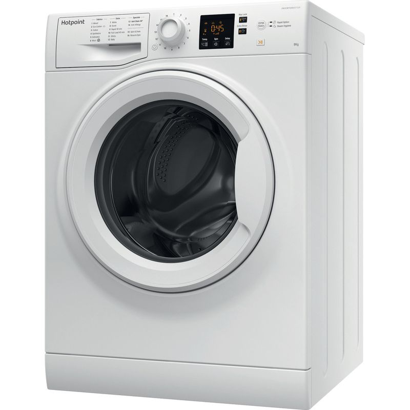 Hotpoint-Washing-machine-Free-standing-NSWR-843C-WK-UK-White-Front-loader-A----Perspective