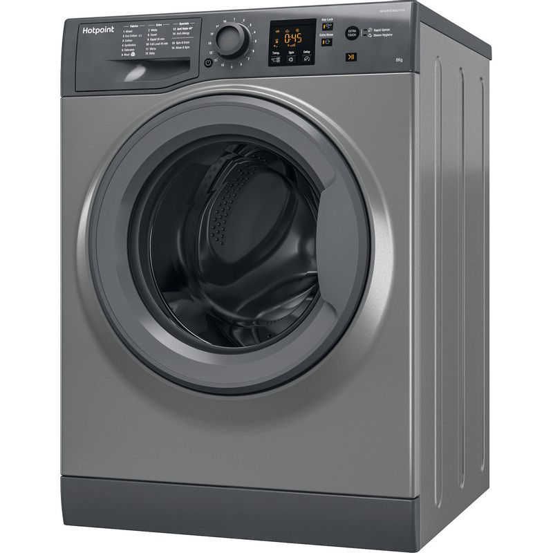 Hotpoint-Washing-machine-Free-standing-NSWR-843C-GK-UK-Graphite-Front-loader-A----Perspective