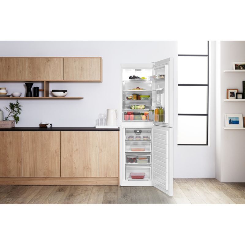 Hotpoint-Fridge-Freezer-Free-standing-HBNF-55181-W-AQUA-UK-White-2-doors-Lifestyle-frontal-open