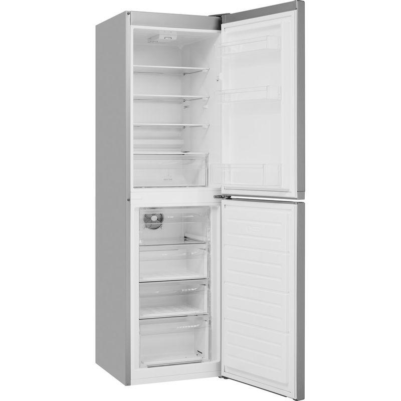 Hotpoint-Fridge-Freezer-Free-standing-HBNF-55181-S-UK-Silver-2-doors-Perspective-open