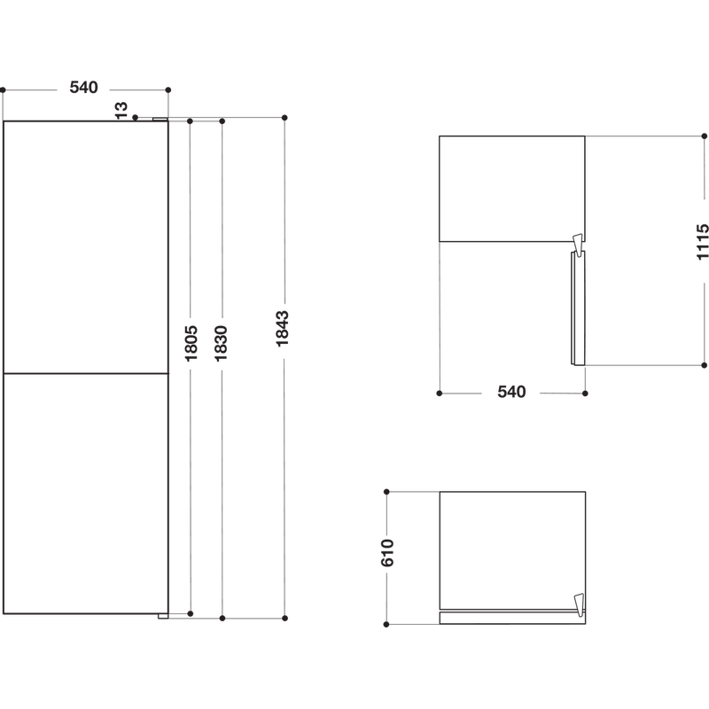 Hotpoint-Fridge-Freezer-Free-standing-HBNF-55181-S-AQUA-UK-Silver-2-doors-Technical-drawing