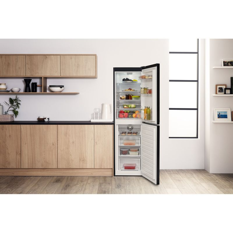 Hotpoint-Fridge-Freezer-Free-standing-HBNF-55181-B-UK-Black-2-doors-Lifestyle-frontal-open