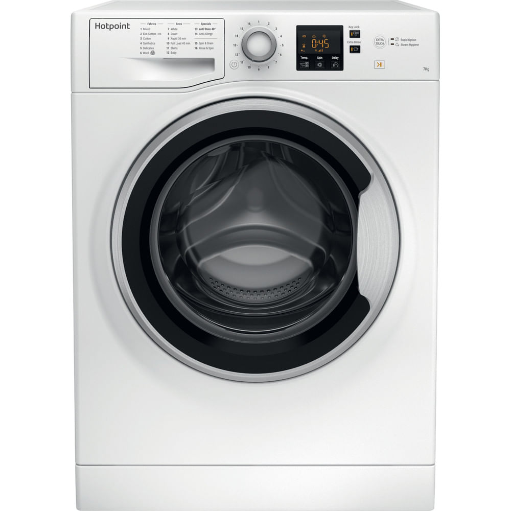 Hotpoint Freestanding Washing Machine NSWE 743U WS UK : discover the specifications of our home appliances and bring the innovation into your house and family.