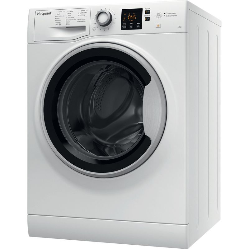Hotpoint-Washing-machine-Free-standing-NSWE-743U-WS-UK-White-Front-loader-A----Perspective