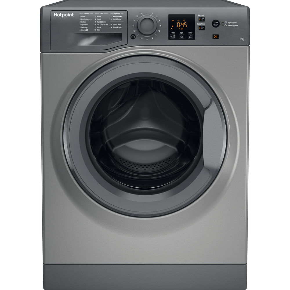 Hotpoint Freestanding Washing Machine NSWE 743U GG UK : discover the specifications of our home appliances and bring the innovation into your house and family.