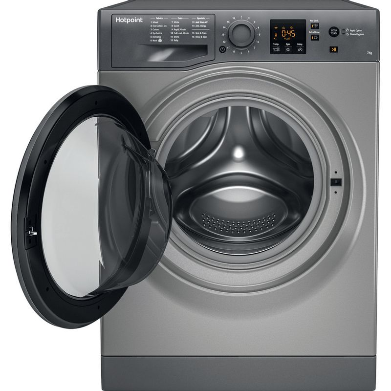 Hotpoint-Washing-machine-Free-standing-NSWE-743U-GG-UK-Graphite-Front-loader-A----Frontal_Open