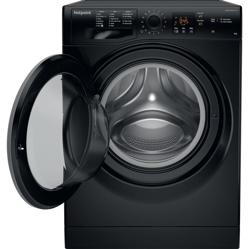 Hotpoint-Washing-machine-Free-standing-NSWR-843C-BS-UK-Black-Front-loader-A----Frontal_Open