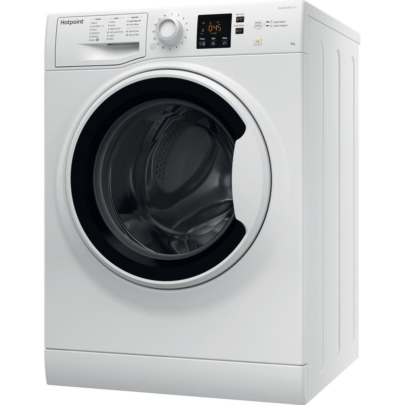 Hotpoint-Washing-machine-Free-standing-NSWA-1043C-WW-UK-White-Front-loader-A----Perspective