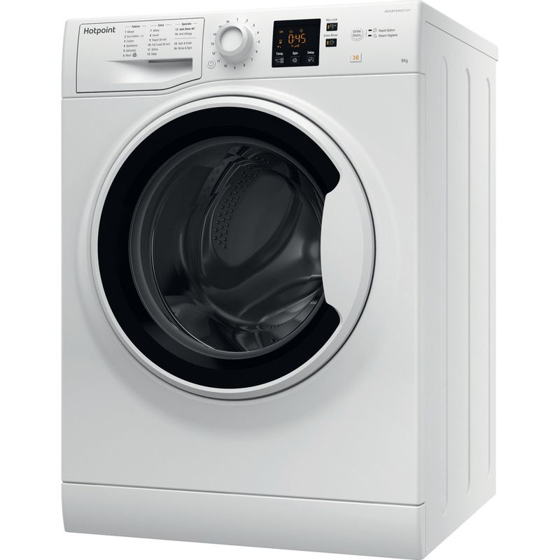 Hotpoint-Washing-machine-Free-standing-NSWA-843C-WW-UK-White-Front-loader-A----Perspective