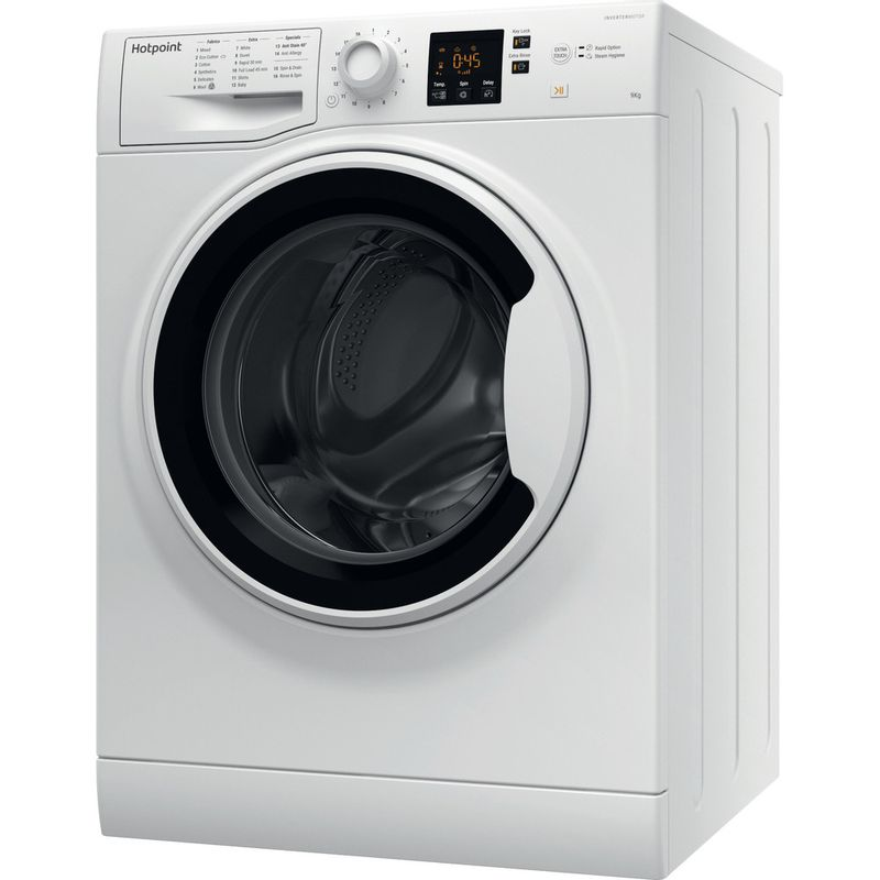 Hotpoint-Washing-machine-Free-standing-NSWA-943C-WW-UK-White-Front-loader-A----Perspective
