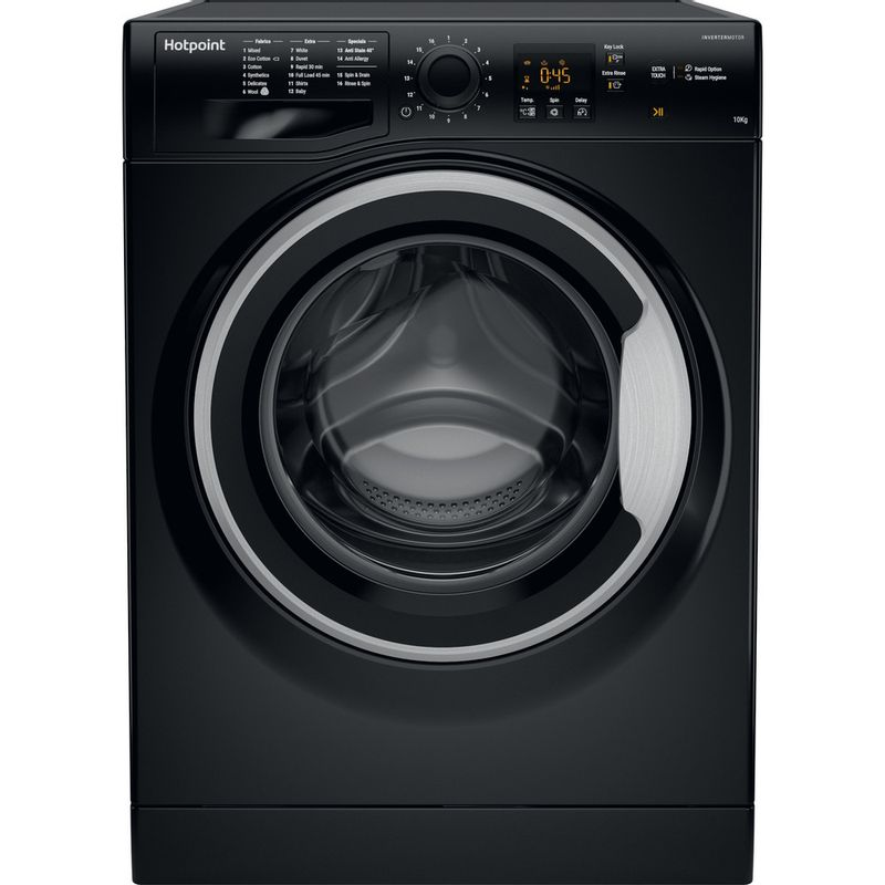 Hotpoint-Washing-machine-Free-standing-NSWM-1043C-BS-UK-Black-Front-loader-A----Frontal