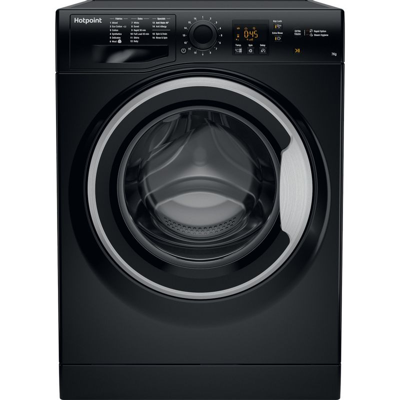 Hotpoint-Washing-machine-Free-standing-NSWM-743U-BS-UK-Black-Front-loader-A----Frontal