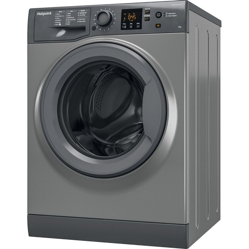 Hotpoint-Washing-machine-Free-standing-NSWM-863C-GG-UK-Graphite-Front-loader-A----Perspective