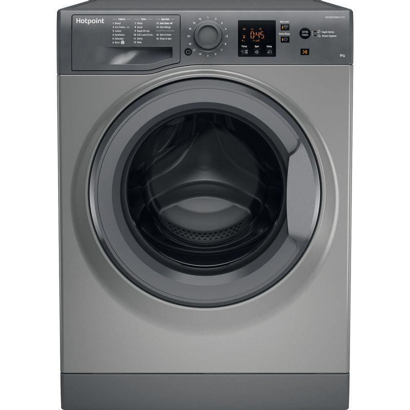 Hotpoint-Washing-machine-Free-standing-NSWM-843C-GG-UK-Graphite-Front-loader-A----Frontal