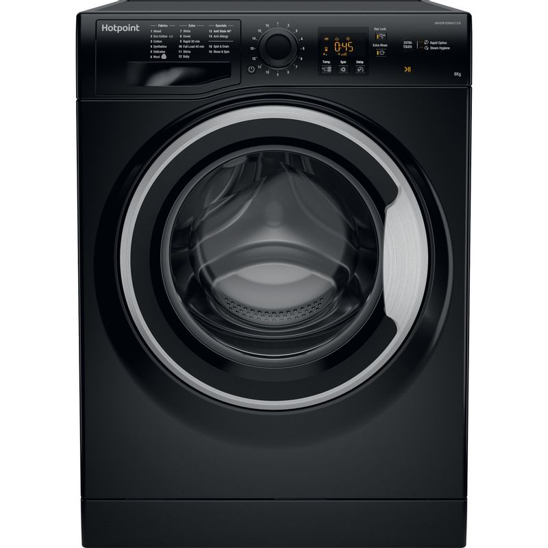 Hotpoint-Washing-machine-Free-standing-NSWM-843C-BS-UK-Black-Front-loader-A----Frontal