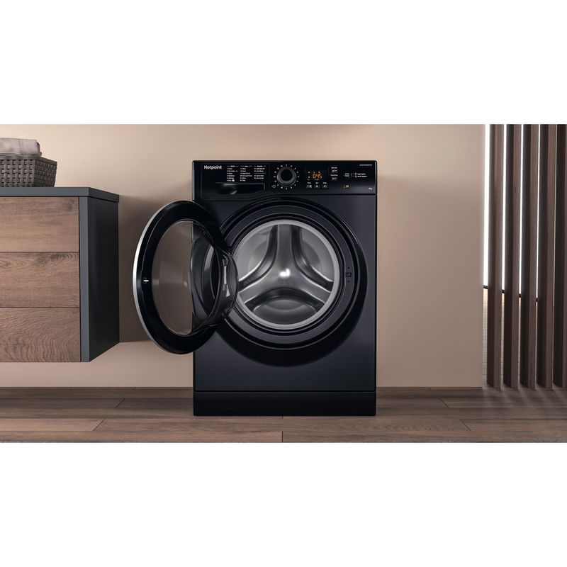 Hotpoint-Washing-machine-Free-standing-NSWM-843C-BS-UK-Black-Front-loader-A----Lifestyle-frontal-open