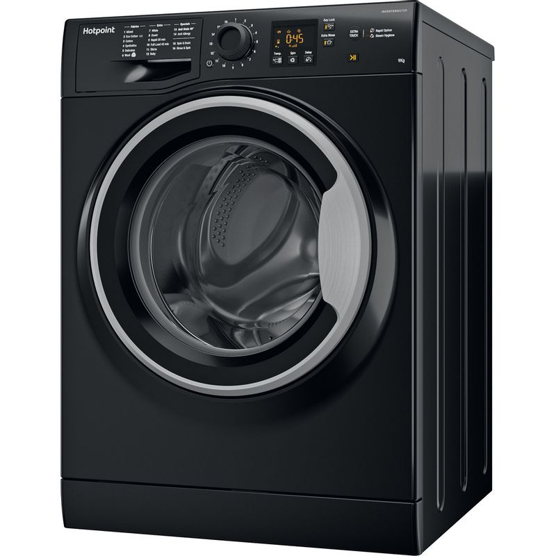 Hotpoint-Washing-machine-Free-standing-NSWF-943C-BS-UK-Black-Front-loader-A----Perspective