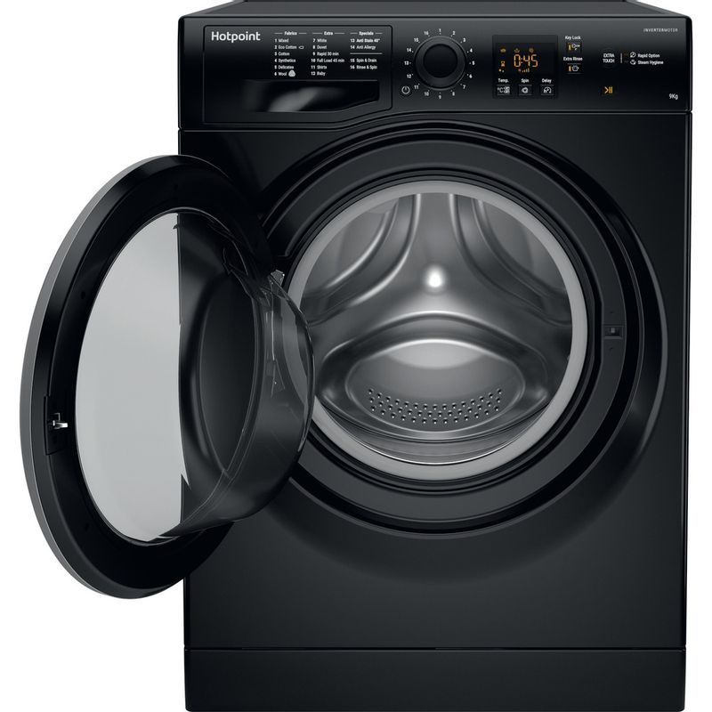 Hotpoint-Washing-machine-Free-standing-NSWF-943C-BS-UK-Black-Front-loader-A----Frontal_Open