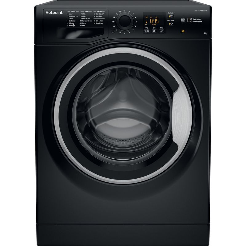 Hotpoint-Washing-machine-Free-standing-NSWM-943C-BS-UK-Black-Front-loader-A----Frontal