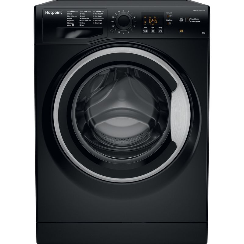 Hotpoint-Washing-machine-Free-standing-NSWM-963C-BS-UK-Black-Front-loader-A----Frontal