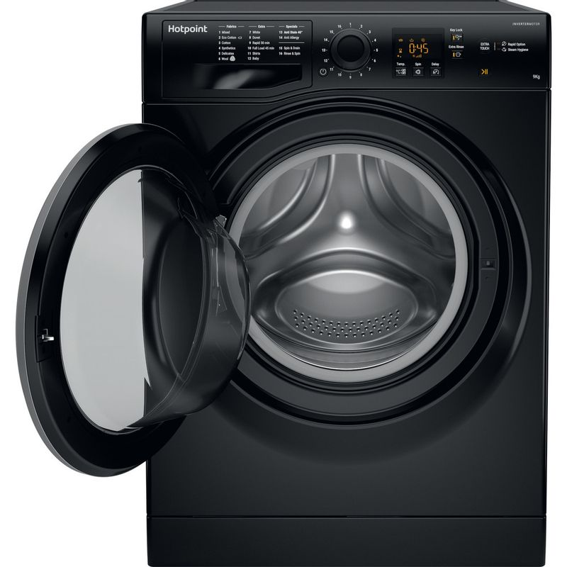 Hotpoint-Washing-machine-Free-standing-NSWM-963C-BS-UK-Black-Front-loader-A----Frontal_Open
