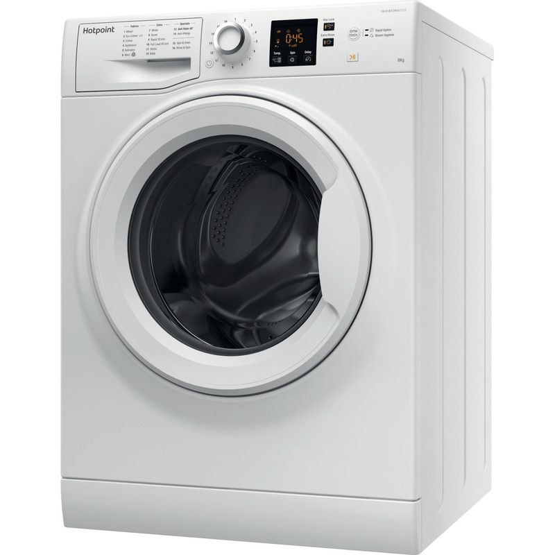 Hotpoint-Washing-machine-Free-standing-NSWJ-842C-W-UK-White-Front-loader-A---Perspective
