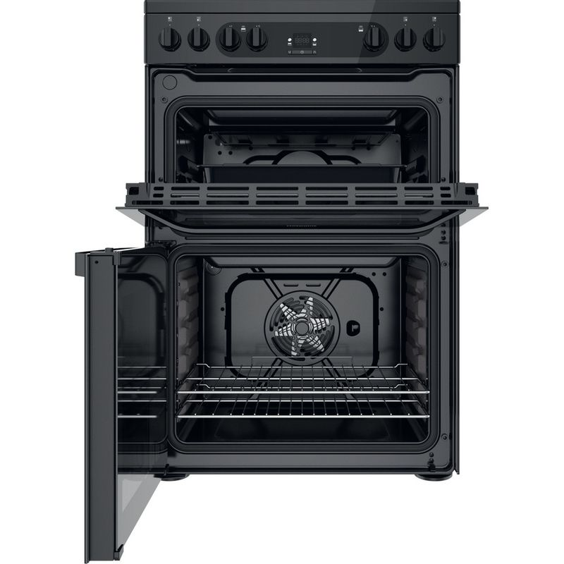 Hotpoint-Double-Cooker-HDM67V92HCB-UK-Black-A-Frontal-open