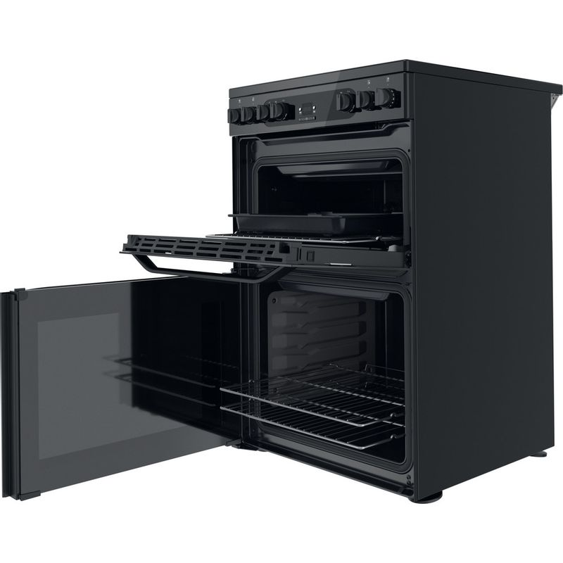 Hotpoint-Double-Cooker-HDM67V92HCB-UK-Black-A-Perspective-open