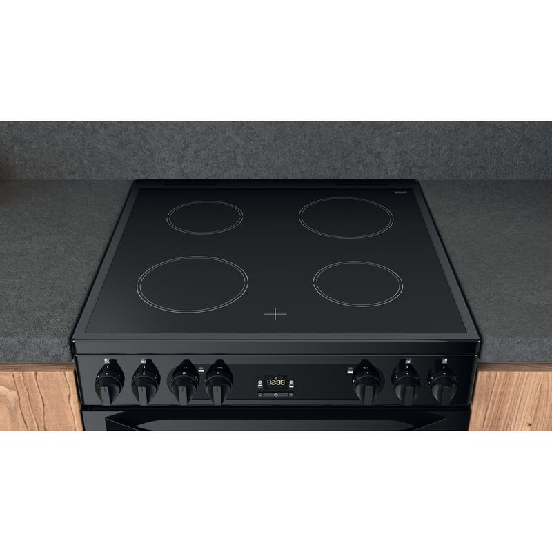 Hotpoint-Double-Cooker-HDM67V92HCB-UK-Black-A-Lifestyle-frontal-top-down