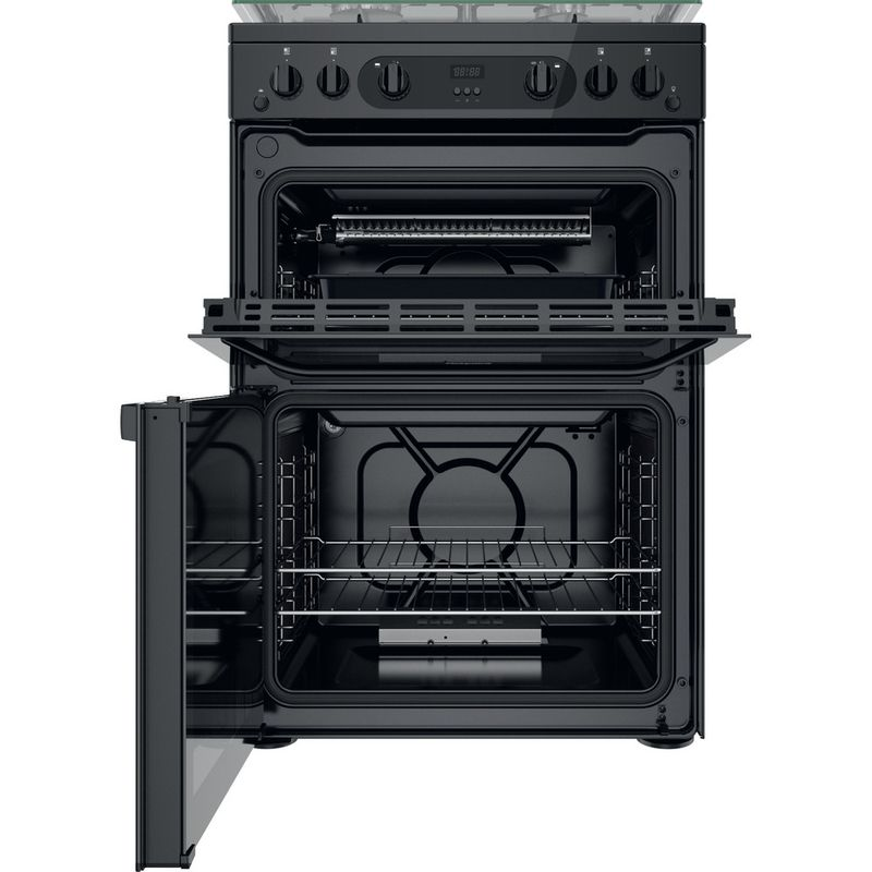 Hotpoint-Double-Cooker-HDM67G0CCB-UK-Black-A--Frontal-open