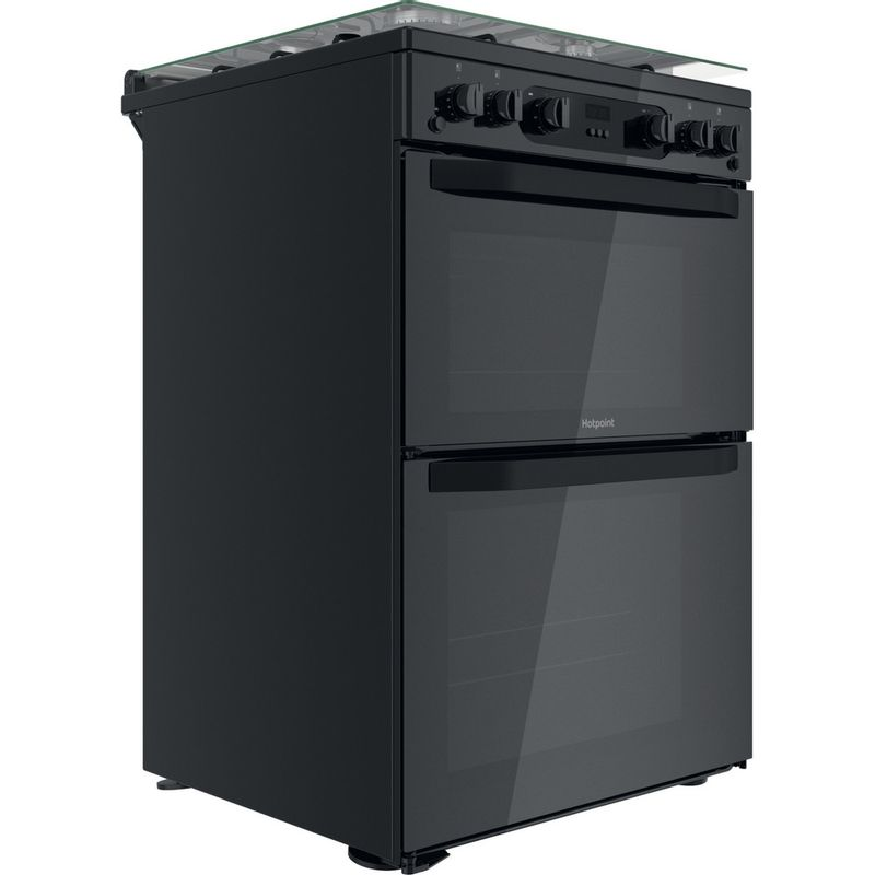 Hotpoint-Double-Cooker-HDM67G0CCB-UK-Black-A--Perspective