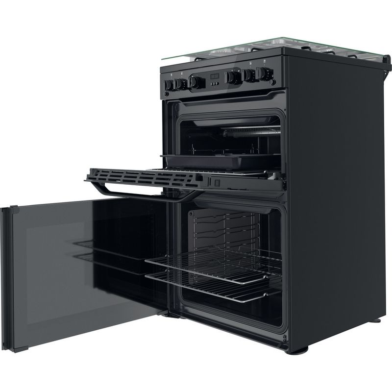 Hotpoint-Double-Cooker-HDM67G0CCB-UK-Black-A--Perspective-open