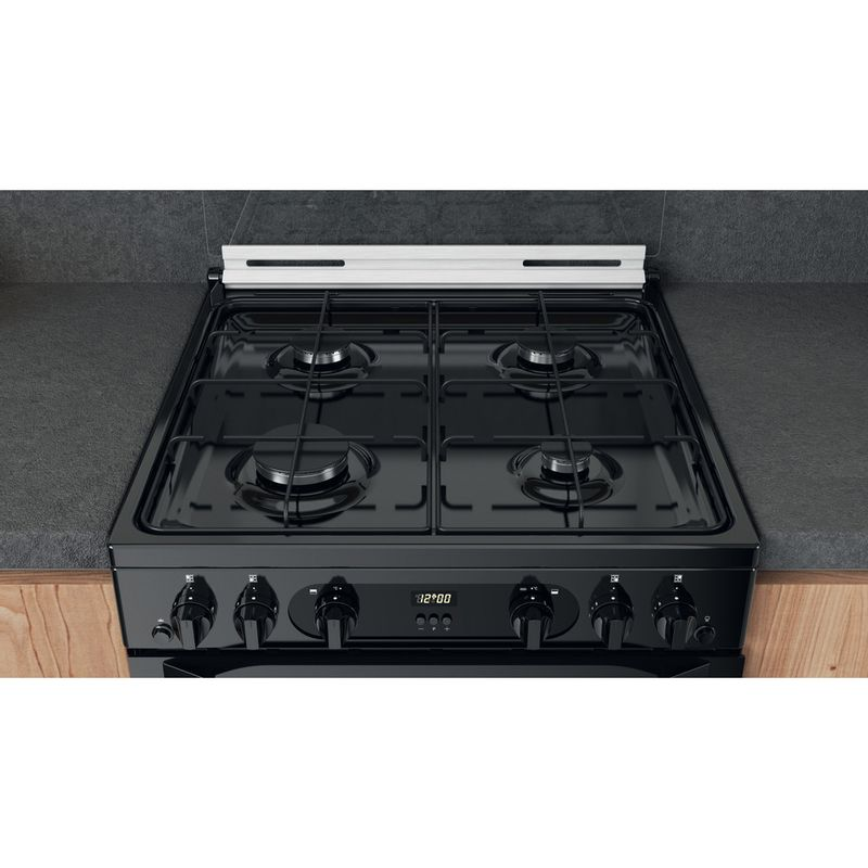 Hotpoint-Double-Cooker-HDM67G0CCB-UK-Black-A--Lifestyle-frontal-top-down