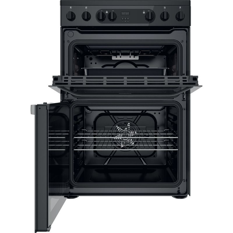 Hotpoint-Double-Cooker-HDM67V9CMB-UK-Black-A-Frontal-open