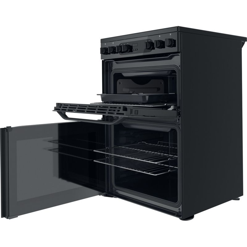 Hotpoint-Double-Cooker-HDM67V9CMB-UK-Black-A-Perspective-open