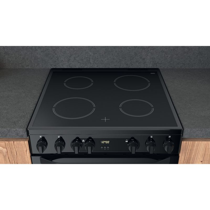 Hotpoint-Double-Cooker-HDM67V9CMB-UK-Black-A-Lifestyle-frontal-top-down
