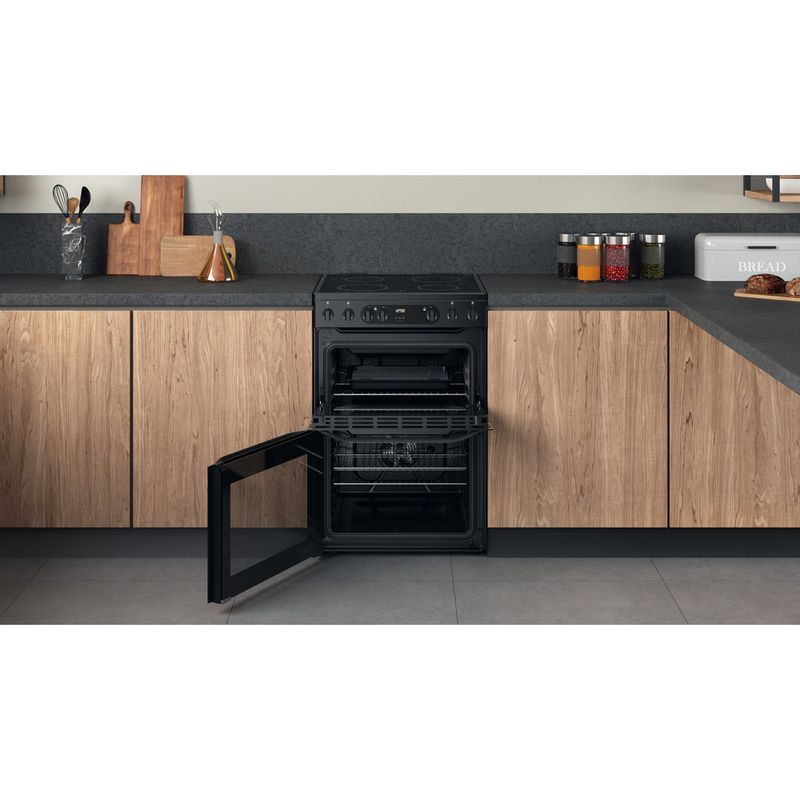 Hotpoint-Double-Cooker-HDM67V9CMB-UK-Black-A-Lifestyle-frontal-open