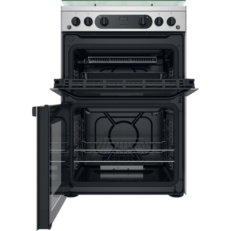 Hotpoint-Double-Cooker-HDM67G0CCX-UK-Inox-A--Frontal-open