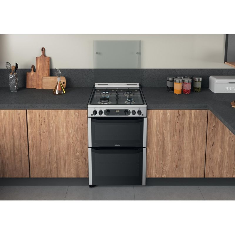 Hotpoint-Double-Cooker-HDM67G0CCX-UK-Inox-A--Lifestyle-frontal-top-down