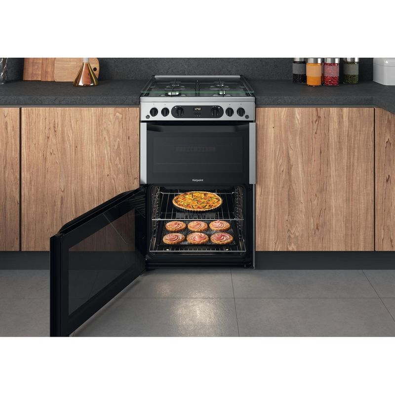 Hotpoint-Double-Cooker-HDM67G0CCX-UK-Inox-A--Lifestyle-frontal-open
