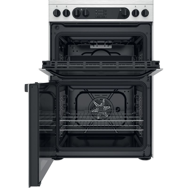 Hotpoint-Double-Cooker-HDM67V9DCX-UK-Inox-A-Frontal-open