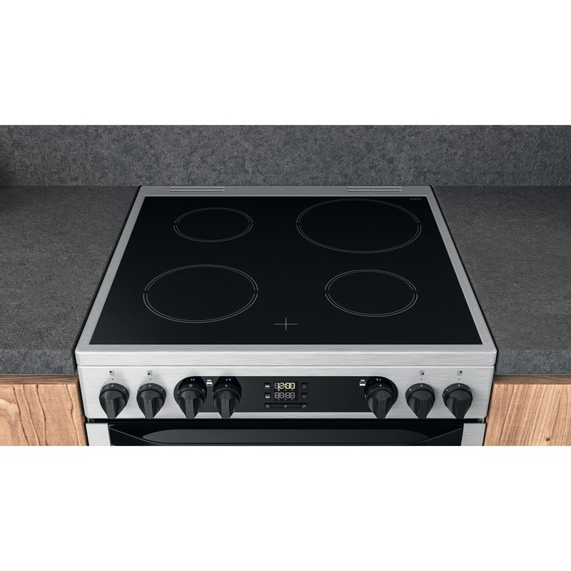 Hotpoint-Double-Cooker-HDM67V9DCX-UK-Inox-A-Lifestyle-frontal-top-down
